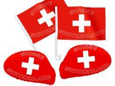 PROMOTION: Accéssoires Suisse pour décoration de voiture Ensemble de 4 pièces: 2 drapeaux + 2 revêtements rétroviseur s'adapte à tous les…