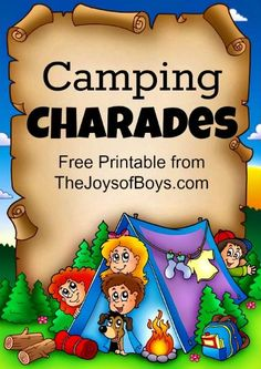 Games: Printable Camping Charades for all ages Use this fun game and easy printable on your family camping trip this summer to play camping charades!Use this fun game and easy printable on your family camping trip this summer to play camping charades! Camping 3, Girl Scout Camping, Camping Parties, Camping Theme, Camping With Kids, Camping Hacks, Outdoor Camping, Camping Ideas, Camping Essentials