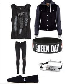 green day, teen style, muscle tee, cute outfit, black jeans, all black outfit
