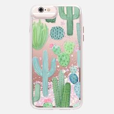 Desert Cactus Garden // Watercolor Cacti - Glitter Case