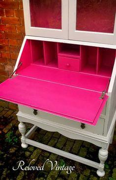 Pop of Raspberry Pink Color Inside - Secretary Desk Makeover by Reloved Vintage - Featured On Furniture Flippin'