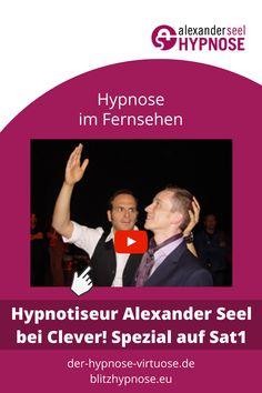 Hypnose TV Beitrag: Clever! Spezial Sat.1 mit Alexander Seel zum Thema Blitzhypnose. Hier finden Sie Hintergrund Informationen zu dem Showhypnose Fernsehauftritt von Alexander Seel und den kompletten Auftritt in zwei Videos. #Showhypnose #Hypnose #AlexanderSeel #Hypnoseshow #Clever #TV #Fernsehen #Hypnotiseur #Showhypnotiseur #Blitzhypnose