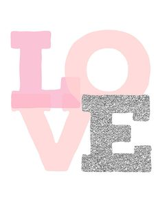 Amor impresión vivero rosa pared arte amor arte bebé niña
