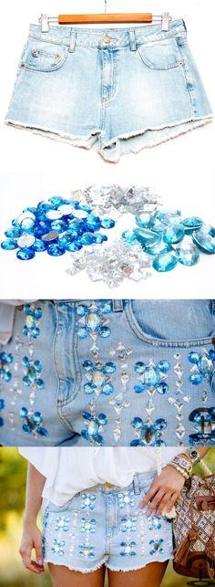 DIY Crimenes de la Moda - Embellished shorts - shorts customizados - brillantes -glitter - blue denim