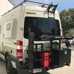 Aluminess rear bumper with swing arms for tire, boxes, and bike rack on the Winnebago Revel! ➡➡➡➡ . . #aluminess #rearbumper #bikerack #1upUSA #expeditionkit #winnebagorevel #winnvanlife #winnebagolife #winnebagorvs #winnebago #4x4sprinter #4x4sprintervan #4wd #4wdv #sprintercampervan #sprintervan #mercedes4x4 #sprintervanconversion #mercedesbenzsprinter #sprintercampervans #adventurevan #adventuremobile #vanconversion #campervan #rotopax #maxtrax @winnebagorvs @winnebago4x4…