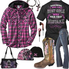 Your First Mistake Pink Plaid Hoodie Outfit - Real Country Ladies