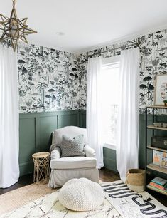 The Eclectic Home Tour of Finding Lovely is a vintage lovers dream. This updated old home remains it's vintage charm and farmhouse style. Painted Wainscoting, Wainscoting Bedroom, Accent Wall Bedroom, Bedroom Decor, Bedroom Curtains, Wall Paper Bedroom, Accent Walls, Kpop Wallpaper, Boys Wallpaper