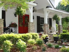 Love this red door with the black shutters. Attracting Money: Choose Your Favorite Colors - 19 Feng Shui Secrets to Attract Love and Money on HGTV Exterior Color Palette, Exterior Paint Colors, Paint Colors For Home, House Colors, Paint Colours, Terrazzo, Red Door House, Tan House, Shutter Colors