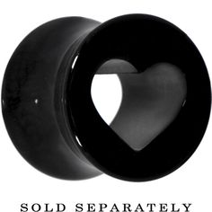 00 Gauge Black Acrylic Hollow Heart Saddle Plug | Body Candy Body Jewelry #BodyCandyLoves