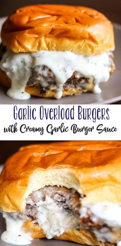 If you love garlic, you'll love these Garlic Overload Burgers with Creamy Garlic Burger Sauce; they will blow you away. Cream cheese with herbs and garlic tango together, in a juicy burger that is full of flavor. part of the best burger recipes by doris I Love Food, Good Food, Yummy Food, Tasty, The Best Burger, Best Burger Sauce, Best Burger Recipe, Pizza Burger Recipes, Grilling Recipes