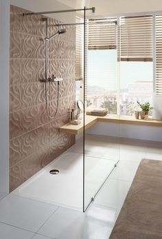 Warm colours, bright bathroom, flat shower tray: does this come close to your dream bathroom? Bathroom Kids, Laundry In Bathroom, Bathroom Colors, Bad Inspiration, Bathroom Inspiration, Beautiful Home Designs, Dream House Interior, Villeroy, Bath Decor