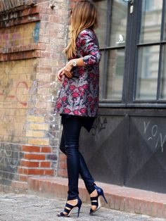 look of the week, autumn, fall, trends, 2015, ootd, brocade, blazer, business, office, heels, leather pants, jades24, streetstyle, berlin, fashionblogger, helloshopping, personal shopping