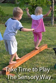 Backyard Balance Beam (just DIY w/ a and some scrap pieces of wood) - someho. - Backyard Balance Beam (just DIY w/ a and some scrap pieces of wood) - somehow make it Winnie the Pooh themed: -Hundred Acre Beam -Race to Pooh Corner -Etc. Backyard Playground, Backyard For Kids, Diy For Kids, Backyard Ideas, Children Playground, Playground Ideas, Garden Ideas, Backyard Toys, Natural Playground