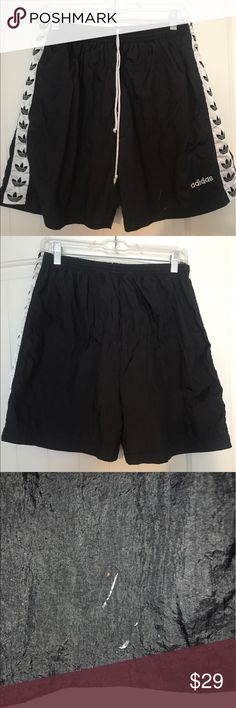Adidas shorts Awesome one of a kind vintage adidas shorts. Men or women's size small/medium. Measurements are 17 1/4 long. Waist is 14 1/2 but of course it's elastic so stretches to about 20 inches. Inseam is 5 inches. Two small stains on the bottom front of legs pictured. adidas Shorts Athletic