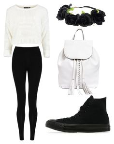 """""""Outfit #64"""" by girlybunny ❤ liked on Polyvore featuring M&S Collection, Rebecca Minkoff and Converse"""