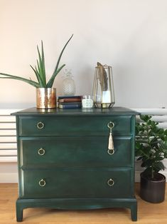 Excited to share this item from my #etsy shop: Vintage green painted chest of drawers/Stag chest of drawers