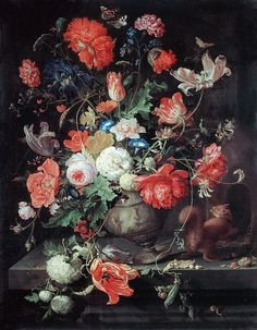 Flowers in a Vase. By Abraham Mignon