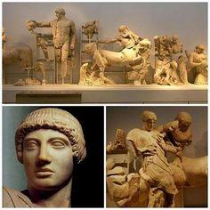Lotta fra centauri e lapiti (460-450 a.C.) Olimpia - Tempio di Zeus  Sul frontone occidentale, sottoposto a importanti restauri già in epoca antica, Lapiti e Centauri combattono alle nozze di Piritoo, presiedute dalla figura centrale di Apollo. Ai suoi lati, Piritoo e Teseo guidano due gruppi di lapiti. Nell'immagine in basso a destra, un centauro tenta di rapire Ippodamia, la moglie di Piritoo, scatenando la violenta reazione dei lapiti. La rissa degenerò in una guerra fra il popolo dei…
