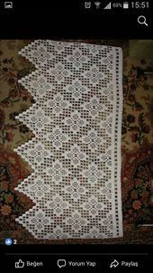 Crochet lace edging with point Filet Crochet, Crochet Doily Diagram, Crochet Lace Edging, Crochet Borders, Crochet Squares, Irish Crochet, Crochet Patterns, Crochet Curtain Pattern, Crochet Curtains