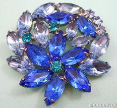 Vintage DeLizza & Elster Juliana Blue Rhinestone Brooch Floral Motif Silver Tone #DeLizzaElster