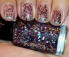 """wet n wild """"party of five glitters"""" - clear base with small and hex rainbow glitter"""