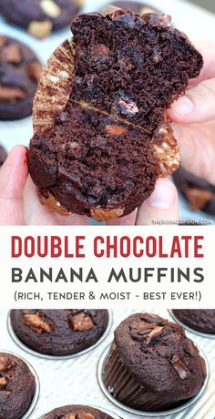 An easy recipe for the best double chocolate banana muffins that are tender, rich, incredibly moist. The batter has a mixture of cocoa powder & chocolate chunks (use your favorite - dark, white, or milk) so every bite is intensely chocolately with sweet & fragrant ripened banana to contrast it. Make a batch in about 30 minutes with simple ingredients to satisfy a craving or package it up as a holiday food gift for a chocolate lover in your life. This would be perfect in a care package! Chocolate Banana Muffins, Banana Bread Muffins, Best Banana Bread, Chocolate Desserts, Chocolate Lovers, Pastry Recipes, Baking Recipes, Real Food Recipes, Frugal Recipes
