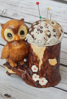 What better place to store your pins and needles than on this adorable pin cushion!!This tiny owl was found thrifting about, repurposed as a pin cushion. It has a Japan sticker on the botton, o...