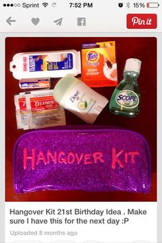 Hangover kit. Cute gift idea for Yvonne's 21st in Las Vegas.: