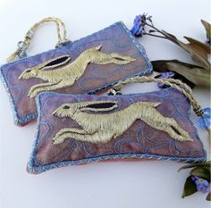 Misty Blue HARE, embroidered lavender pouch with beaded hanging loop - The British Craft House Craft House, Gold Embroidery, Hare, Home Crafts, Lavender, British, Pouch, Colours, Gift Ideas