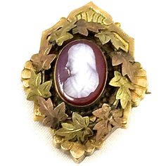 Victorian Cameo Brooch, 1800's Antique Rolled Gold Wreath Leaves, Rose... ($95) ❤ liked on Polyvore featuring jewelry, brooches, antique gold jewellery, rose brooch, victorian cameo brooch, antique gold brooches and victorian brooch