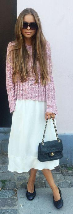 Lavish Lavish Pink Ribbed Sweater Outfit Idea #Fashionistas