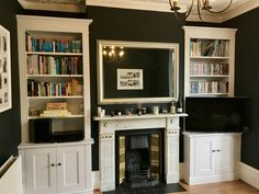 Classic Alcove Units for client in Putney Living Room Built In Cabinets, Alcove Cupboards, Grey Walls Living Room, Living Room Shelves, Alcove Storage, Alcove Shelving, Storage Ideas, Alcove Bookshelves, Bookcases