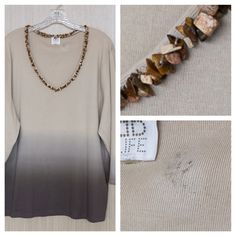 DB Life Beaded Ombré Brown Sweater Plus Size 3X  DB Life 100% Cotton sweater w/unusual & beautiful wood-beaded V-neck. Flattering light-to-dark brown ombré design. Plus size 3X (not labeled).  NOTE: There is a STAIN inside the collar area but it is NOT VISIBLE while the sweater is worn. See first photo inset for stain detail.  Only selling because this is too big for me -- You will love this!   NO TRADES   Free Beauty Sample with Purchase  DB Life Sweaters V-Necks
