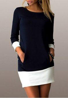 Casual Scoop Neck Color Block Long Sleeve Mini Dress For Women Bodycon Dresses