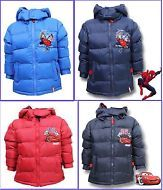 Boys Winter School Hooded Puffa Jacket Coat Spiderman, Cars, All Seasons, Autumn