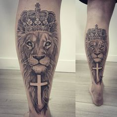 More #liontattoos #lioncrown #kingofthebeasts #blackandgreytattoos #crown #wild #wildlife_in_bl #cross #crucifix #stgeorge #english…