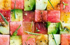 Cubes of avocado, watermelon, tomato, tuna, mozzarella, doused in olive oil, salt, and rosemary