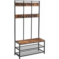 ⚜️ Add charm to your home with VASAGLE Industrial Coat Rack Shoe Bench, Hall Tree Entryway Storage Shelf, Large Size, Wood Look Accent Furniture with Metal Frame, Easy Assembly from Wood Storage Bench, Entryway Storage, Shoe Storage, Storage Shelves, Toilet Storage, Hidden Storage, Hallway Unit, Hallway Shelf, Coat Stand Hallway