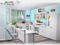 Still under the young way style, we brought this kitchen that can be easily turned into a home snack bar when matching with the other 2 sets of this series. Found in TSR Category 'Sims 4 Kitchen...