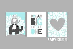 Baby Boy Nursery art Aqua and grey Grey Set of 3 by babyartprints, $33.00
