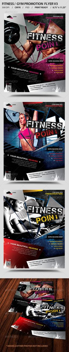 Fitness/Gym Business Promotion Flyer V3 — Photoshop PSD #aerobics #spa • Available here → https://graphicriver.net/item/fitnessgym-business-promotion-flyer-v3/5397833?ref=pxcr