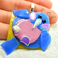 bluebird fused glass