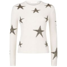 Valentino Fisherman Ribbed Intarsia Star Cashmere Sweater (100.310 RUB) ❤ liked on Polyvore featuring tops, sweaters, cashmere tops, star sweater, white sweater, star print top and wool cashmere sweater