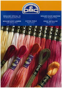 DMC Color Card is a perfect tool to have when deciding which colors to use in your embroidered designs. http://dmc-usa.com/Products/Needlework-Threads/Embroidery-Threads/Cotton-Embroidery-Floss.aspx?technique=embroidery
