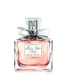 Miss Dior Chérie - Acquerello su Behance - Profumo Idee Parfum Dior, Dior Perfume, Makeup Illustration, Watercolor Illustration, Watercolor Projects, Watercolor Ideas, Bottle Drawing, Chanel Art, Art Corner