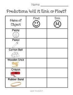 or Float Worksheet I use this to have students make predictions if an item floats or sinks.I use this to have students make predictions if an item floats or sinks. 1st Grade Science, Elementary Science, Science Experiments Kids, Science Classroom, Science Fair, Science For Kids, Science Projects, Science Activities For Preschoolers, Summer School Activities