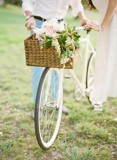 Adorable floral-covered bike, complete with a matching bike basket! The perfect prop! | Style Me Pretty