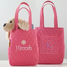 Personalized Mini Quilted Tote for Flower Girl | #exclusivelyweddings | #pinkwedding