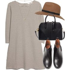 A fashion look from February 2015 featuring shift dress, leather boots and black handbags. Browse and shop related looks.