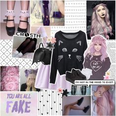 Adorable Pastel Goth Inspired Outfit!   Clothing From Chosth   Skirt;; http://www.chosth.com/light-purple-pleated-flare-skirt-p-1374.html   Sweater;; http://www.chosth.com/black-embroidered-cat-round-neck-loose-sweater-p-1268.html   Bat Backpack;; http://www.chosth.com/sweet-batwing-backpack-p-1674.html  Shoes;; http://www.chosth.com/fashion-suede-creepers-p-1525.html